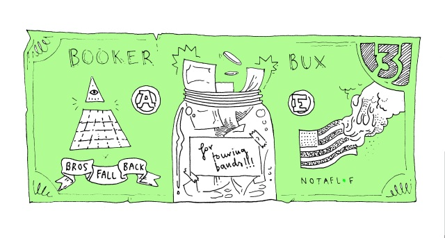 Booker Bux are the way to earn credit at Flywheel by doing jobs or volunteer tiime. Illustration by Pia Barnett.